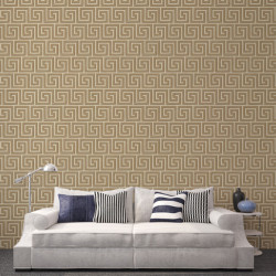 Papier peint - Cole and Son - Queens Key - Linen & Gold