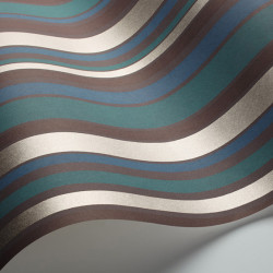 Papier peint - Cole and Son - Jubilee Stripe - Teal, Black & Gilver