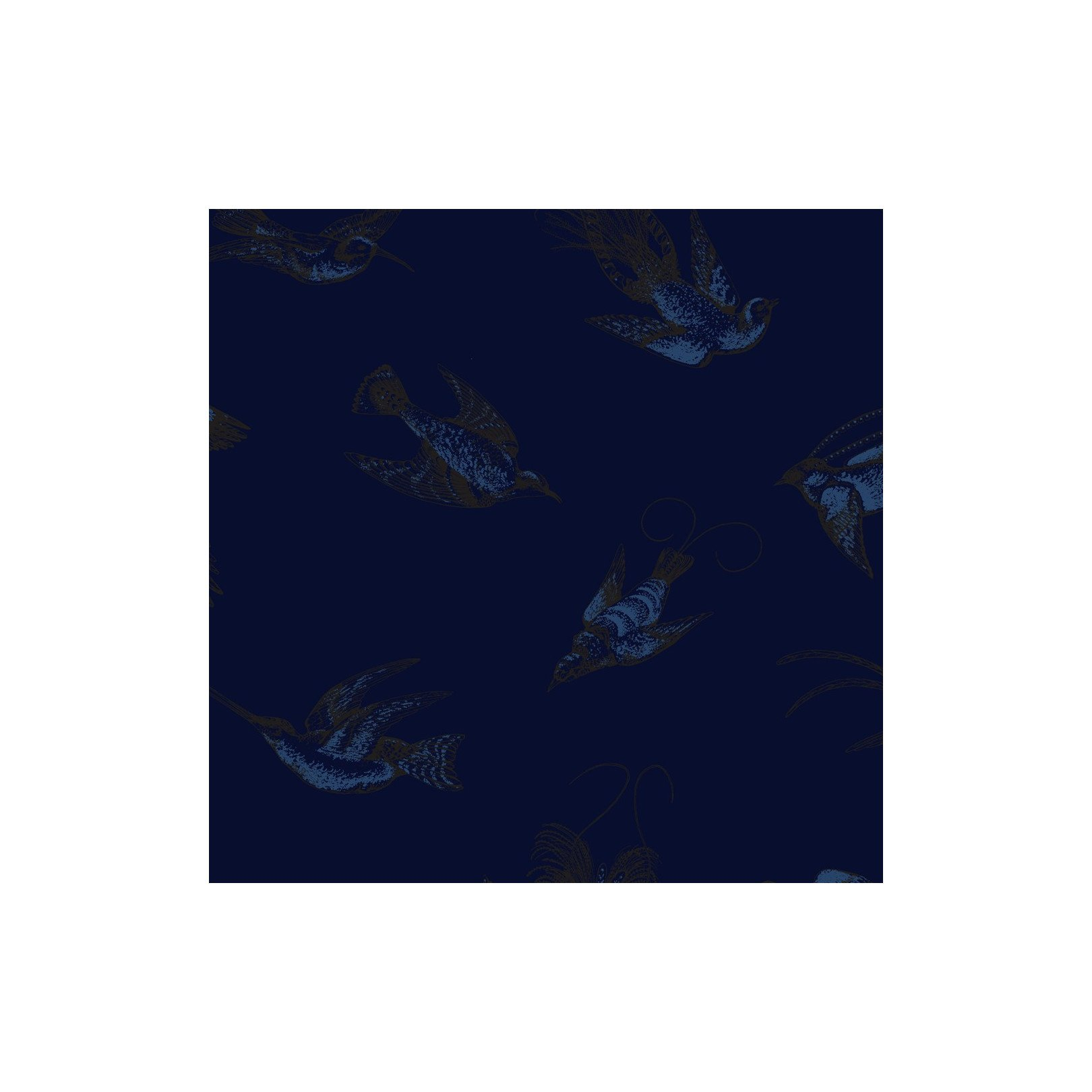 Papier peint - Cole and Son - Tropical Birds - Dark Blue and Lustre