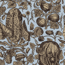 Papier peint - Cole and Son - Cowcumber - Sky Blue and Biscuit