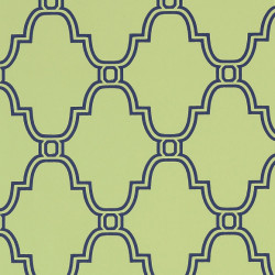 Papier peint - Thibaut - Stanbury Trellis - Navy on Green