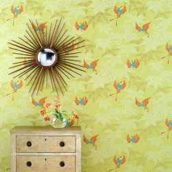 Papier peint - Osborne & Little - Grove Garden - Orange, vert, or