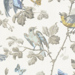 Papier peint - Cole and Son - Winter Birds - Yellow & Grey