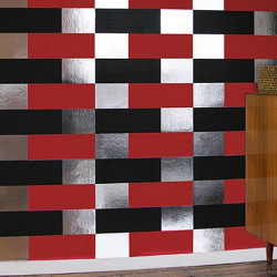 Papier peint - Erica Wakerly - Block - BLACK RED SILVER