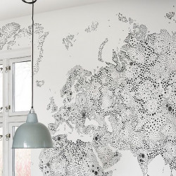 Décor mural - Sandberg - World Map - Grey/Black