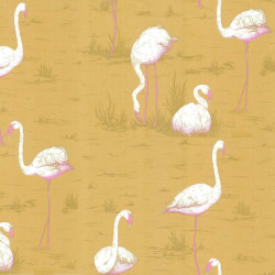 Papier peint - Cole and Son - Flamingos - Mustard White & Pink