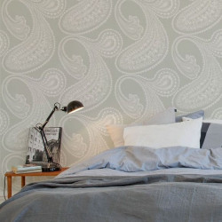 Papier peint - Cole and Son - Rajapur - Grey & White