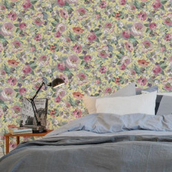 Papier peint - The Vintage Collection - Classic Rose All Over - Yellow
