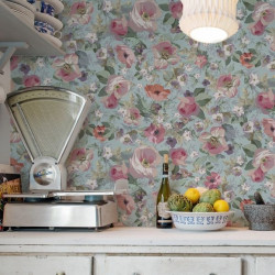Papier peint - The Vintage Collection - Classic Rose All Over - Duck egg
