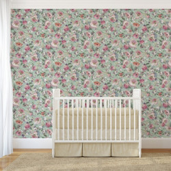 Papier peint - The Vintage Collection - Classic Rose All Over - Green