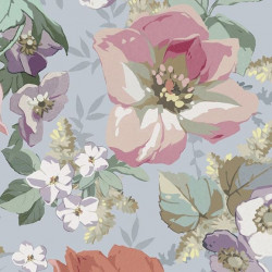 Papier peint - The Vintage Collection - Classic Rose All Over - Blue