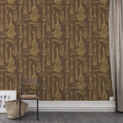Papier peint - Cole and Son - Quartet  - Brown & Gold