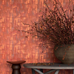Papier peint - Elitis - Khan - Orange, rouge et doré