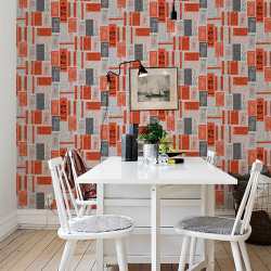 Papier peint - Mini Moderns - Hold Tight - Orange et gris