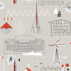 Papier peint - Mini Moderns - Festival - Orange et gris clair