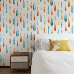Papier peint - Mini Moderns - Feathers - turquoise, orange et jaune moutarde