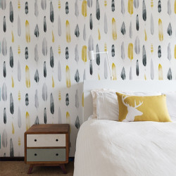 Papier peint - Mini Moderns - Feathers - jaune moutarde