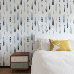 Papier peint - Mini Moderns - Feathers - bleu