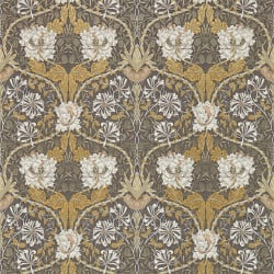Papier peint - Morris and Co. - Honeysuckle & Tulip - Gris charbon et doré
