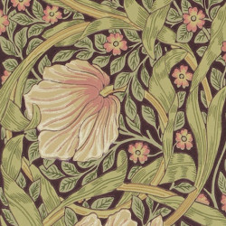 Papier peint - Morris and Co. - Pimpernel - Rose, beige, vert et violine