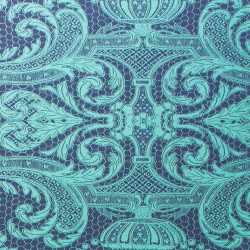 Papier peint - Matthew Williamson - Orangery Lace - Bleu nuit et vert jade