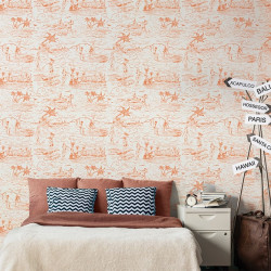 Papier peint - Maison Leconte - Catch a wave - Orange