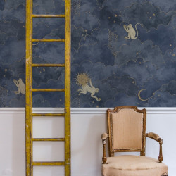 Décor mural - Les Dominotiers - Grand Stars and Monkeys - Midnight Blue