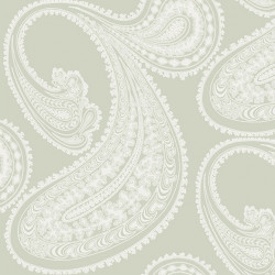Papier peint - Cole and Son - Rajapur - White on Soft Olive