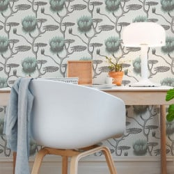 Papier peint - Cole and Son - Summer Lily - Print Room Blue on Chalk