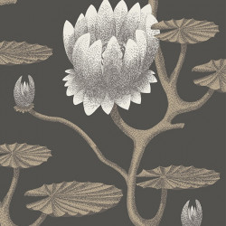 Papier peint - Cole and Son - Summer Lily - White & Gilver on Charcoal
