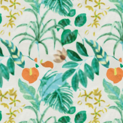 Papier peint - Nobilis - Hibiscus - Orange, Green & White