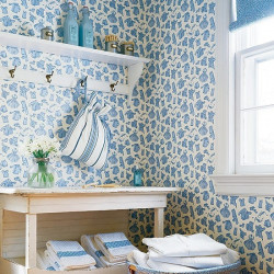 Papier peint - Thibaut - Duds - Blue on White