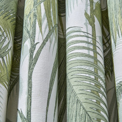 Tissu - Cole and Son - Palm Jungle Lin Mélangé - Olive Green on White