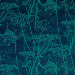 Tissu - Cole and Son - Cow Parsley Velvet - Petrol & Ink