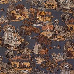 Tissu - Cole and Son - Versailles Grand 100% Coton - Ginger on Charcoal