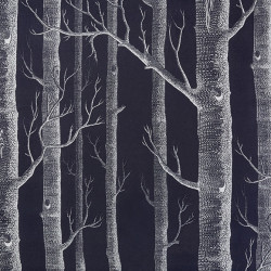 Tissu - Cole and Son - Woods Lin Mélangé - White on Charcoal