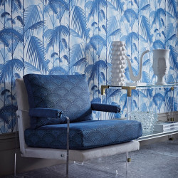 Tissu - Cole and Son - Feather Fan Jacquard - Hyacinth on Charcoal