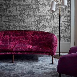Tissu - Cole and Son - Feather Fan Jacquard - Magenta on Charcoal