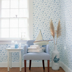 Papier peint - Thibaut - Something Fishy - White