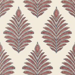 Papier peint - Anna French - PALAMPORE LEAF - Red and Blue