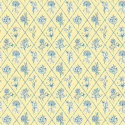 Papier peint - Thibaut - Posy - Blue on Yellow