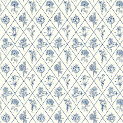 Papier peint - Thibaut - Posy - Blue on Cream