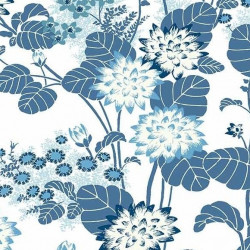 Papier peint - York Wallcovering - Chinese floral - White/Blue