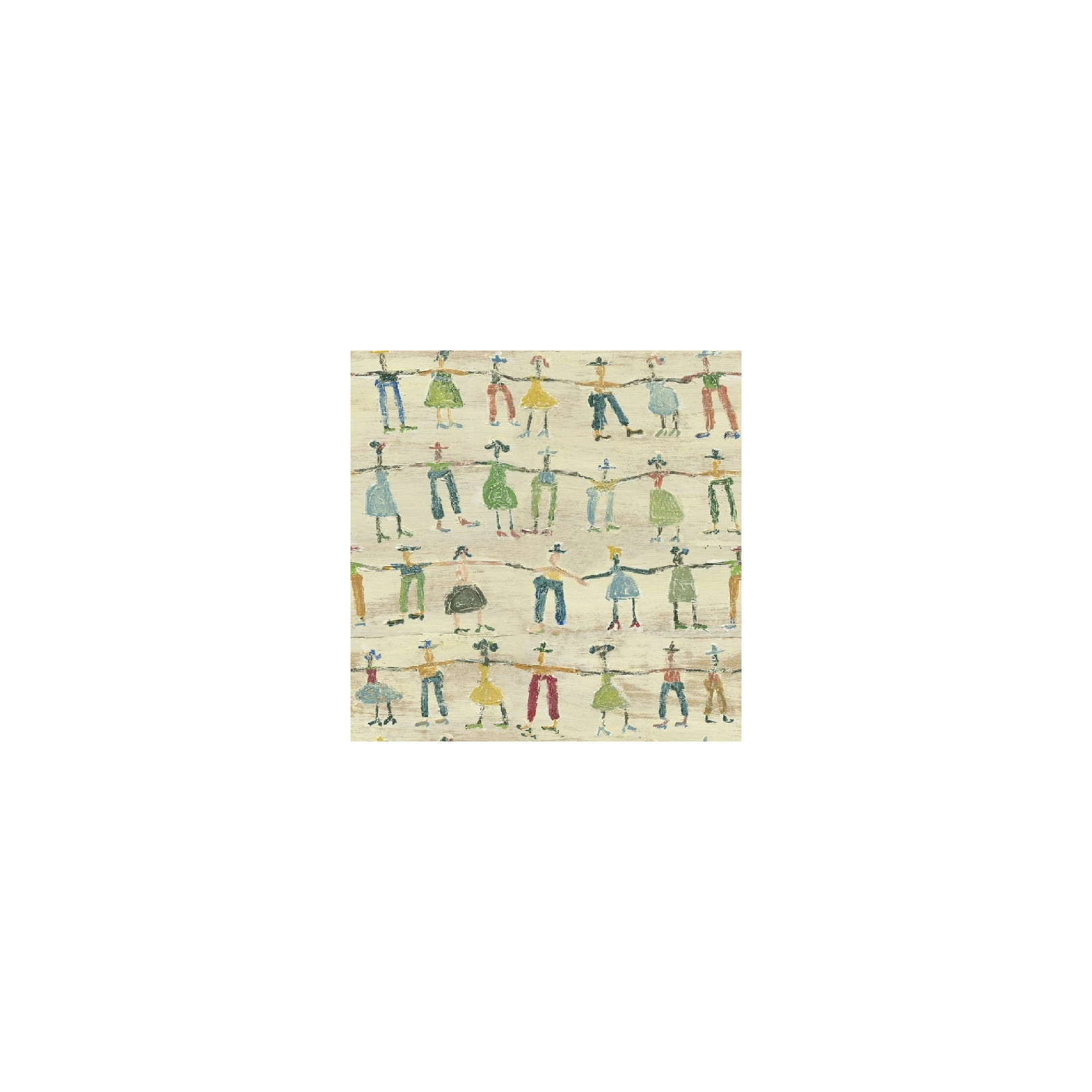 Papier peint - Mind The Gap - Little People - Blue, Green, Red, Taupe