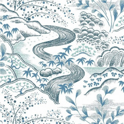 Papier peint - York Wallcovering - WATERFALL GARDENS - White/Blue