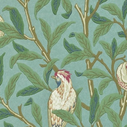 Papier peint - Morris and Co. - Bird and Pomegranate - Turquoise/Coral