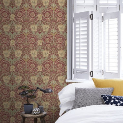 Papier peint - Morris and Co. - Honeysuckle and tulip - red/gold