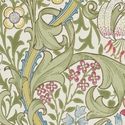 Papier peint - Morris and Co. - Golden Lily - Green/Red