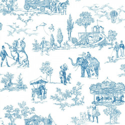Papier peint - Thibaut - Carnival - Blue on White