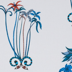 Tissu - Clarke & Clarke - Jungle Palms - Blue